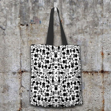 Load image into Gallery viewer, Designs by MyUtopia Shout Out:Cats White Fabric Totebag Reusable Shopping Tote