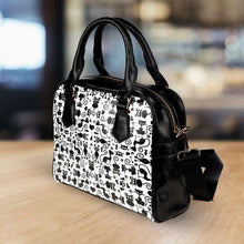 Load image into Gallery viewer, Designs by MyUtopia Shout Out:Cats White Faux Leather Handbag with Shoulder Strap