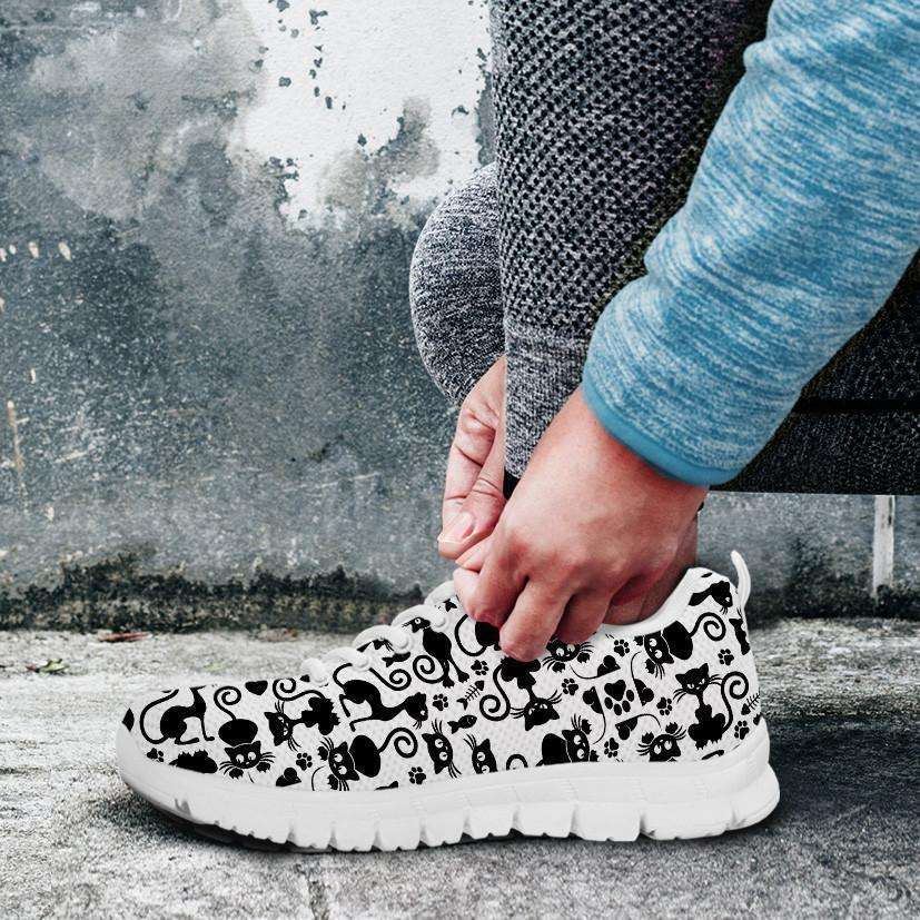 Designs by MyUtopia Shout Out:Cats White Running Shoes,Kid's / Kid's 11 CHILD (EU28) / Black/White,Running Shoes