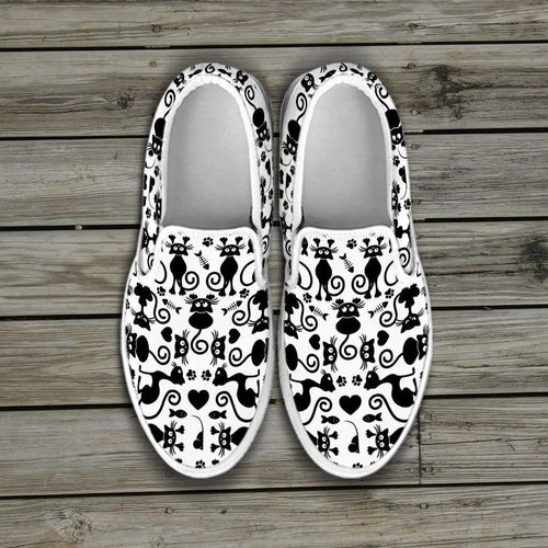 Designs by MyUtopia Shout Out:Cats White Slip-on Shoes,Women's / Women's US6 (EU36) / White,Slip on sneakers