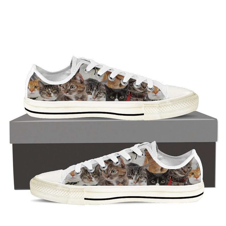 Designs by MyUtopia Shout Out:Cats Women's Low Top Canvas Shoe,Womens Low Top / US6 (EU36) / White/Brown,Lowtop Shoes