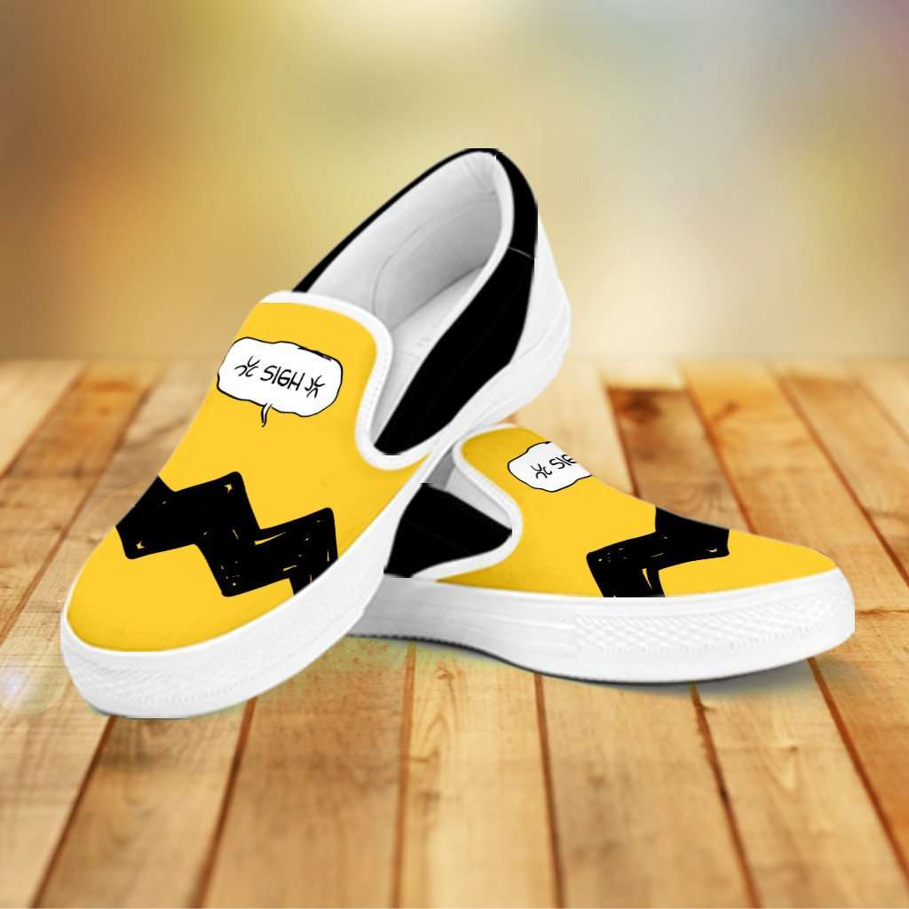Designs by MyUtopia Shout Out:Charlie Slip-on Shoes,Women's / Women's US6 (EU36) / Yellow,Slip on sneakers