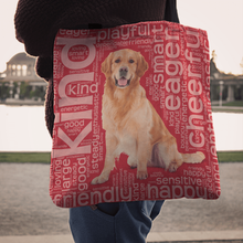 Load image into Gallery viewer, Designs by MyUtopia Shout Out:Cheerful Retriever Fabric Totebag Reusable Shopping Tote