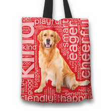 Load image into Gallery viewer, Designs by MyUtopia Shout Out:Cheerful Retriever Fabric Totebag Reusable Shopping Tote,Red,Reusable Fabric Shopping Tote Bag