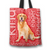 Designs by MyUtopia Shout Out:Cheerful Retriever Fabric Totebag Reusable Shopping Tote,Red,Reusable Fabric Shopping Tote Bag