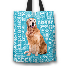 Load image into Gallery viewer, Designs by MyUtopia Shout Out:Cheerful Retriever Fabric Totebag Reusable Shopping Tote,Blue,Reusable Fabric Shopping Tote Bag