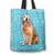 Designs by MyUtopia Shout Out:Cheerful Retriever Fabric Totebag Reusable Shopping Tote,Blue,Reusable Fabric Shopping Tote Bag