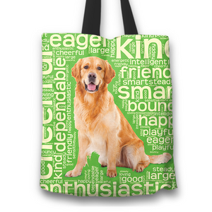 Designs by MyUtopia Shout Out:Cheerful Retriever Fabric Totebag Reusable Shopping Tote,Green,Reusable Fabric Shopping Tote Bag