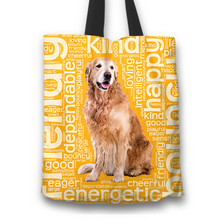 Load image into Gallery viewer, Designs by MyUtopia Shout Out:Cheerful Retriever Fabric Totebag Reusable Shopping Tote,Gold,Reusable Fabric Shopping Tote Bag