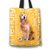 Designs by MyUtopia Shout Out:Cheerful Retriever Fabric Totebag Reusable Shopping Tote,Gold,Reusable Fabric Shopping Tote Bag