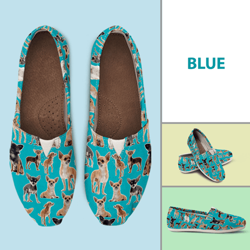 Designs by MyUtopia Shout Out:Chihuahua Casual Canvas Slip on Shoes Women's Flats,Blue / Ladies US6 (EU36),Slip on Flats
