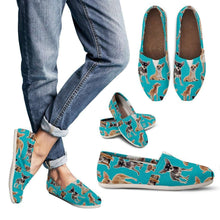 Load image into Gallery viewer, Designs by MyUtopia Shout Out:Chihuahua Collage Casual Canvas Slip on Shoes Women's Flats,Blue / Ladies US6 (EU36),Slip on Flats