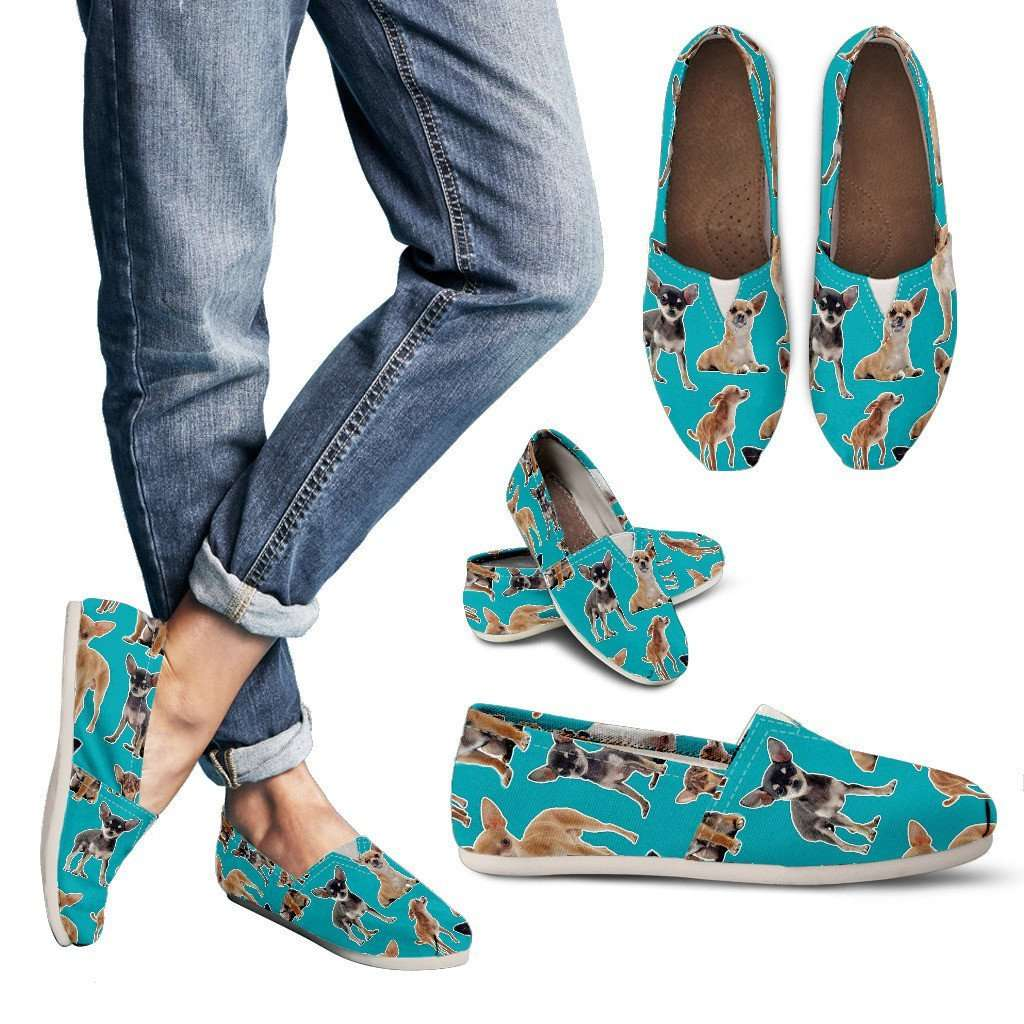 Designs by MyUtopia Shout Out:Chihuahua Collage Casual Canvas Slip on Shoes Women's Flats,Blue / Ladies US6 (EU36),Slip on Flats