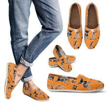 Load image into Gallery viewer, Designs by MyUtopia Shout Out:Chihuahua Collage Casual Canvas Slip on Shoes Women's Flats,Orange / Ladies US6 (EU36),Slip on Flats