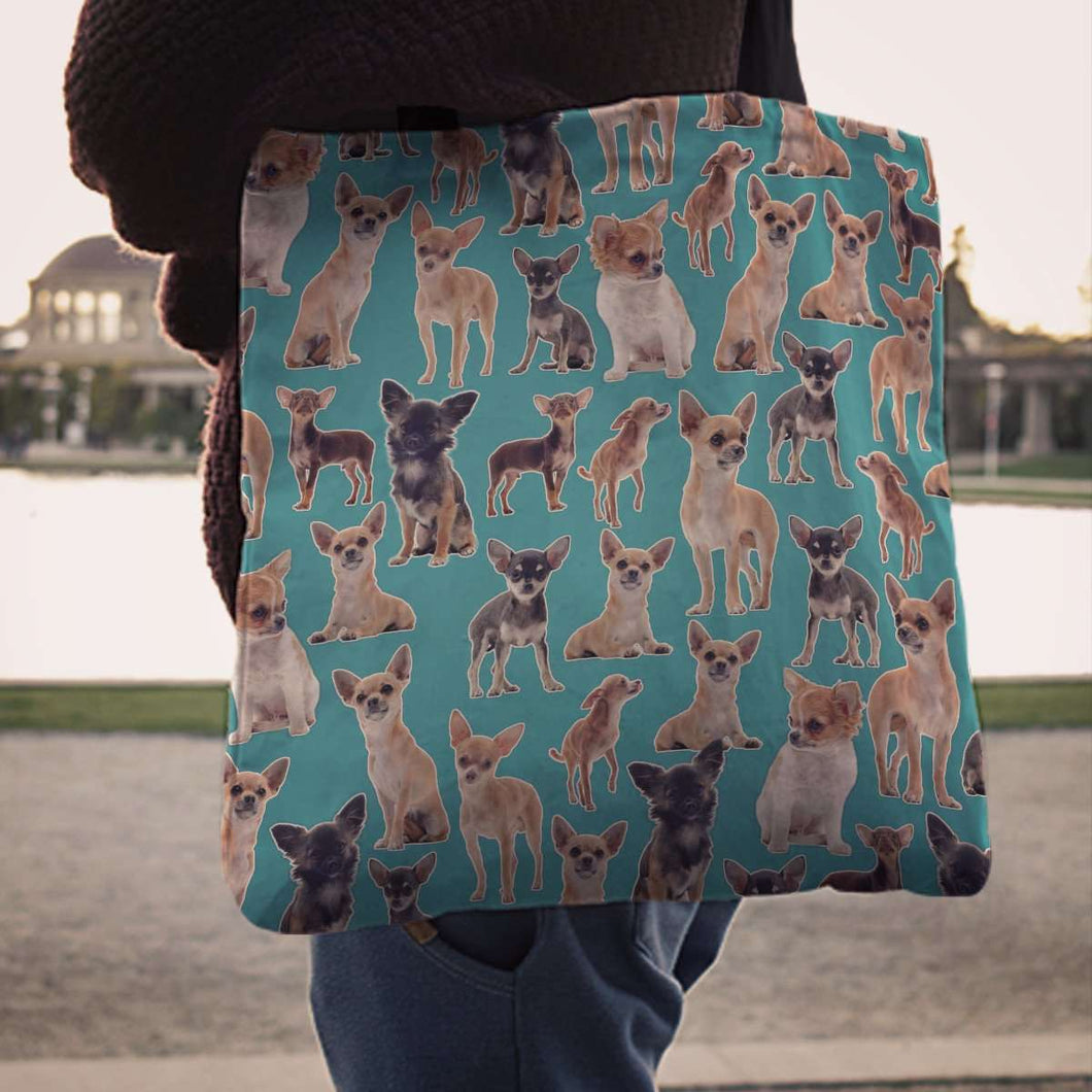 Designs by MyUtopia Shout Out:Chihuahua Collage Fabric Totebag Reusable Shopping Tote