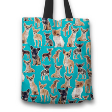 Load image into Gallery viewer, Designs by MyUtopia Shout Out:Chihuahua Collage Fabric Totebag Reusable Shopping Tote,Blue,Reusable Fabric Shopping Tote Bag