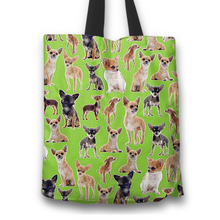 Load image into Gallery viewer, Designs by MyUtopia Shout Out:Chihuahua Collage Fabric Totebag Reusable Shopping Tote,Green,Reusable Fabric Shopping Tote Bag