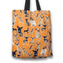 Load image into Gallery viewer, Designs by MyUtopia Shout Out:Chihuahua Collage Fabric Totebag Reusable Shopping Tote,Orange,Reusable Fabric Shopping Tote Bag