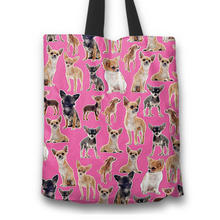 Load image into Gallery viewer, Designs by MyUtopia Shout Out:Chihuahua Collage Fabric Totebag Reusable Shopping Tote,Pink,Reusable Fabric Shopping Tote Bag