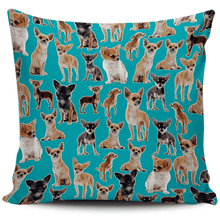 Load image into Gallery viewer, Designs by MyUtopia Shout Out:Chihuahua Collage Pillowcases,Blue,Pillowcases