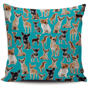 Designs by MyUtopia Shout Out:Chihuahua Collage Pillowcases,Blue,Pillowcases