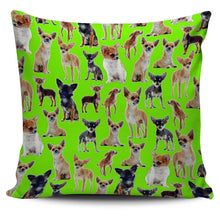Load image into Gallery viewer, Designs by MyUtopia Shout Out:Chihuahua Collage Pillowcases,Green,Pillowcases