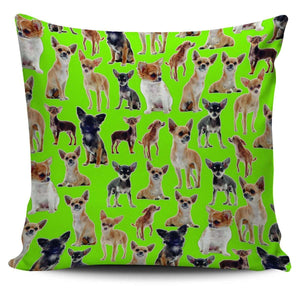 Designs by MyUtopia Shout Out:Chihuahua Collage Pillowcases,Green,Pillowcases