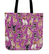 Load image into Gallery viewer, Designs by MyUtopia Shout Out:Chihuahua Collage Purple Totebag
