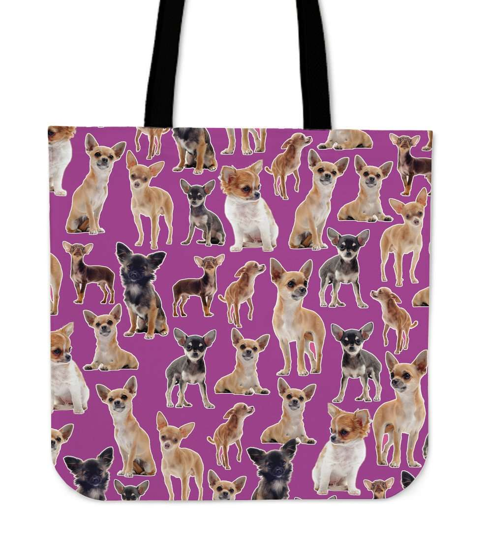 Designs by MyUtopia Shout Out:Chihuahua Collage Purple Totebag