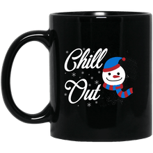 Load image into Gallery viewer, Designs by MyUtopia Shout Out:Chill Out Snowman - Ceramic Coffee Mug - Black,11 oz / Black,Ceramic Coffee Mug