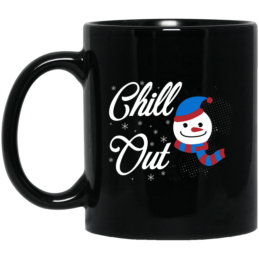 Designs by MyUtopia Shout Out:Chill Out Snowman - Ceramic Coffee Mug - Black,11 oz / Black,Ceramic Coffee Mug