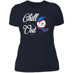 Designs by MyUtopia Shout Out:Chill Out Snowman - Ultra Cotton Ladies' T-Shirt,Midnight Navy / X-Small,Ladies T-Shirts