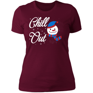Designs by MyUtopia Shout Out:Chill Out Snowman - Ultra Cotton Ladies' T-Shirt,Maroon / X-Small,Ladies T-Shirts