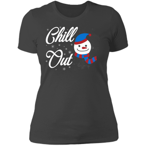Designs by MyUtopia Shout Out:Chill Out Snowman - Ultra Cotton Ladies' T-Shirt,Heavy Metal / X-Small,Ladies T-Shirts