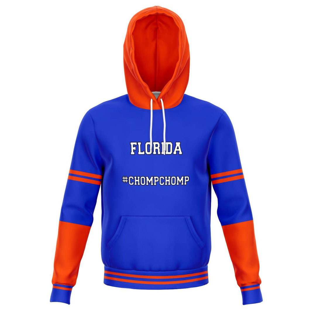 Designs by MyUtopia Shout Out:#ChompChomp Florida Fan Fashion Fleece Lined Pullover Hoodie,XS / Blue,Fashion Hoodie - AOP