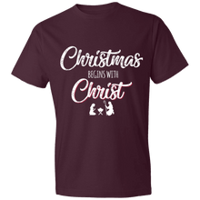 Load image into Gallery viewer, Designs by MyUtopia Shout Out:Christmas Begins with Christ - Lightweight Unisex T-Shirt,Maroon / S,Adult Unisex T-Shirt