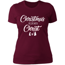 Load image into Gallery viewer, Designs by MyUtopia Shout Out:Christmas Begins with Christ - Ultra Cotton Ladies' T-Shirt,Maroon / X-Small,Ladies T-Shirts