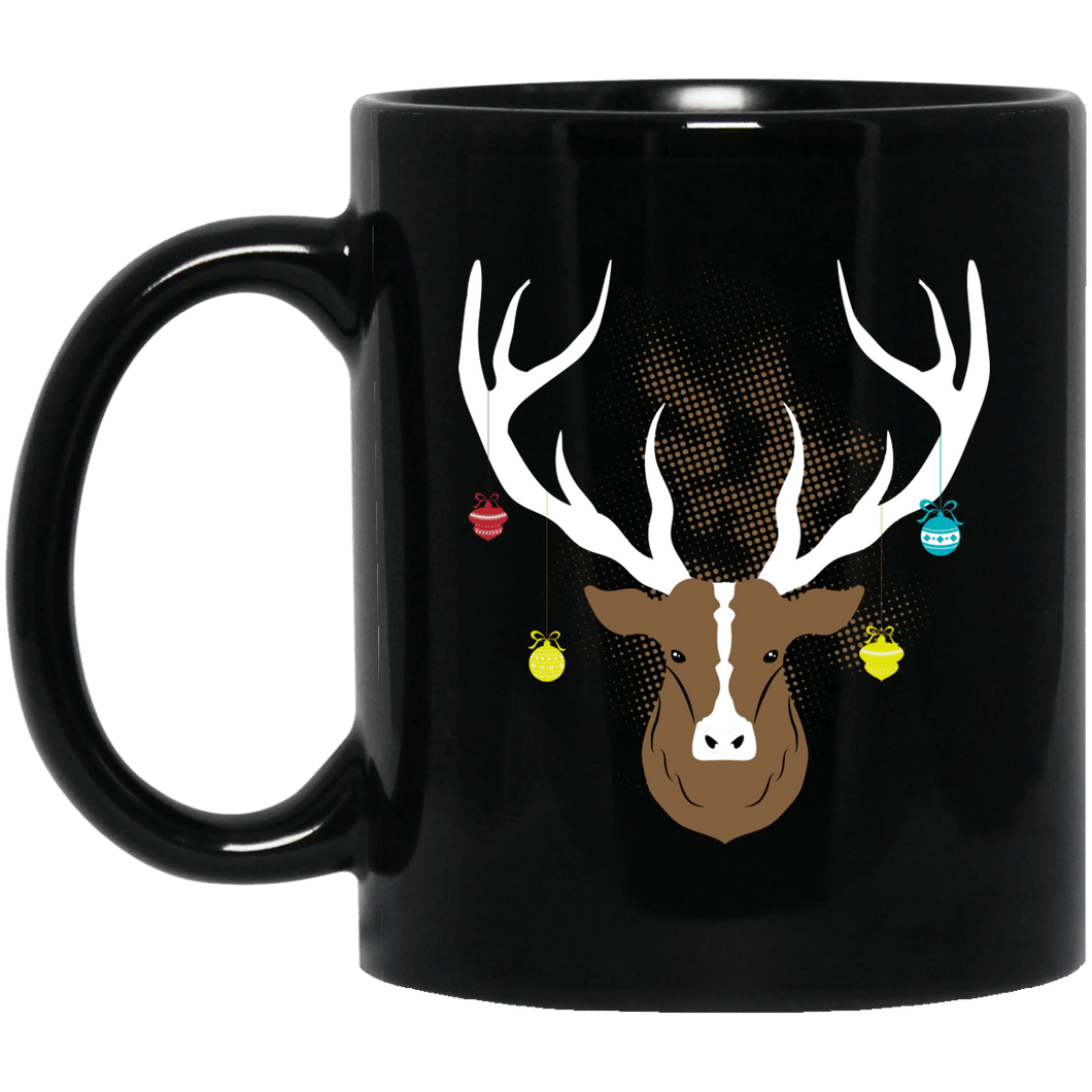 Designs by MyUtopia Shout Out:Christmas Deer - Ceramic Coffee Mug - Black,11 oz / Black,Ceramic Coffee Mug