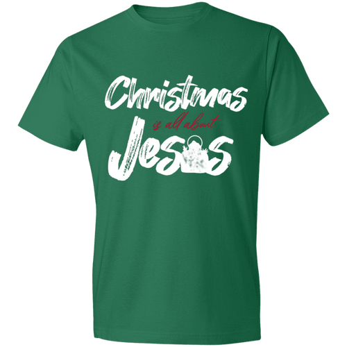 Designs by MyUtopia Shout Out:Christmas is All About Jesus - Lightweight T-Shirt,Kelly Green / S,Adult Unisex T-Shirt