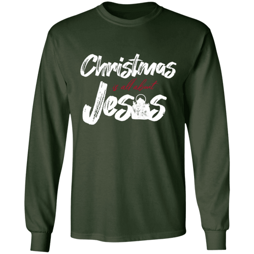 Designs by MyUtopia Shout Out:Christmas is All About Jesus - Ultra Cotton Long Sleeve T-Shirt,Forest Green / S,Long Sleeve T-Shirts
