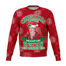 Load image into Gallery viewer, Designs by MyUtopia Shout Out:Christmas Lights are Like Epstein, They Don't Hang Themselves - 3D Ugly Christmas Holiday Fashion Sweatshirt,XS / Red,Fashion Sweatshirt - AOP