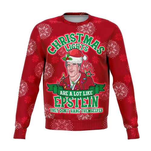 Designs by MyUtopia Shout Out:Christmas Lights are Like Epstein, They Don't Hang Themselves - 3D Ugly Christmas Holiday Fashion Sweatshirt,XS / Red,Fashion Sweatshirt - AOP