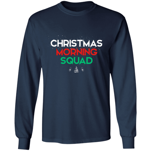 Designs by MyUtopia Shout Out:Christmas Morning Squad - Ultra Cotton Long Sleeve T-Shirt,Navy / S,Long Sleeve T-Shirts