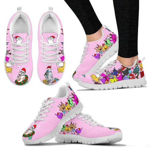 Designs by MyUtopia Shout Out:Christmas Nekos Chasing Droids Ladies Running Shoes,Pink / Ladies US5 (EU35),Running Shoes