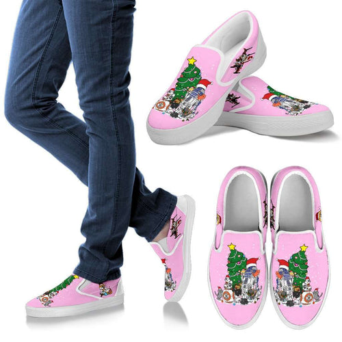 Designs by MyUtopia Shout Out:Christmas Nekos Slip-Ons - pink