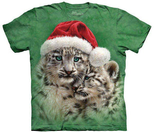 Designs by MyUtopia Shout Out:Christmas Playmates Festive Santa Snow Leopards By The Mountain Tee Shirt,Short Sleeve / Adult Small / Green,Adult Unisex T-Shirt
