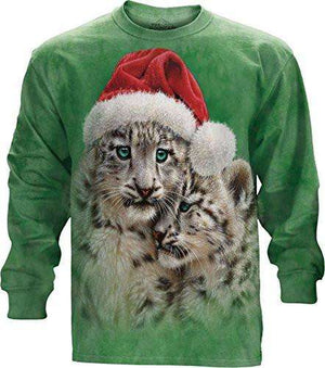 Designs by MyUtopia Shout Out:Christmas Playmates Festive Santa Snow Leopards By The Mountain Tee Shirt,Long Sleeve / Adult Medium / Green,Adult Unisex T-Shirt