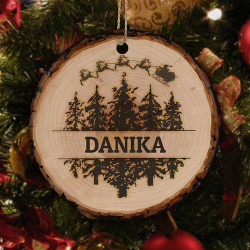 Designs by MyUtopia Shout Out:Christmas Trees and Santa's Sleigh Ceramic Circle Christmas Ornament Personalized with Name,White / One Size,Personalized Christmas Ornament