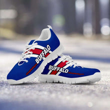 Load image into Gallery viewer, Designs by MyUtopia Shout Out:#CircleTheWagons Buffalo Fan Running Shoes,Kid's / 11 CHILD (EU28) / Royal Blue/White/Red,Running Shoes