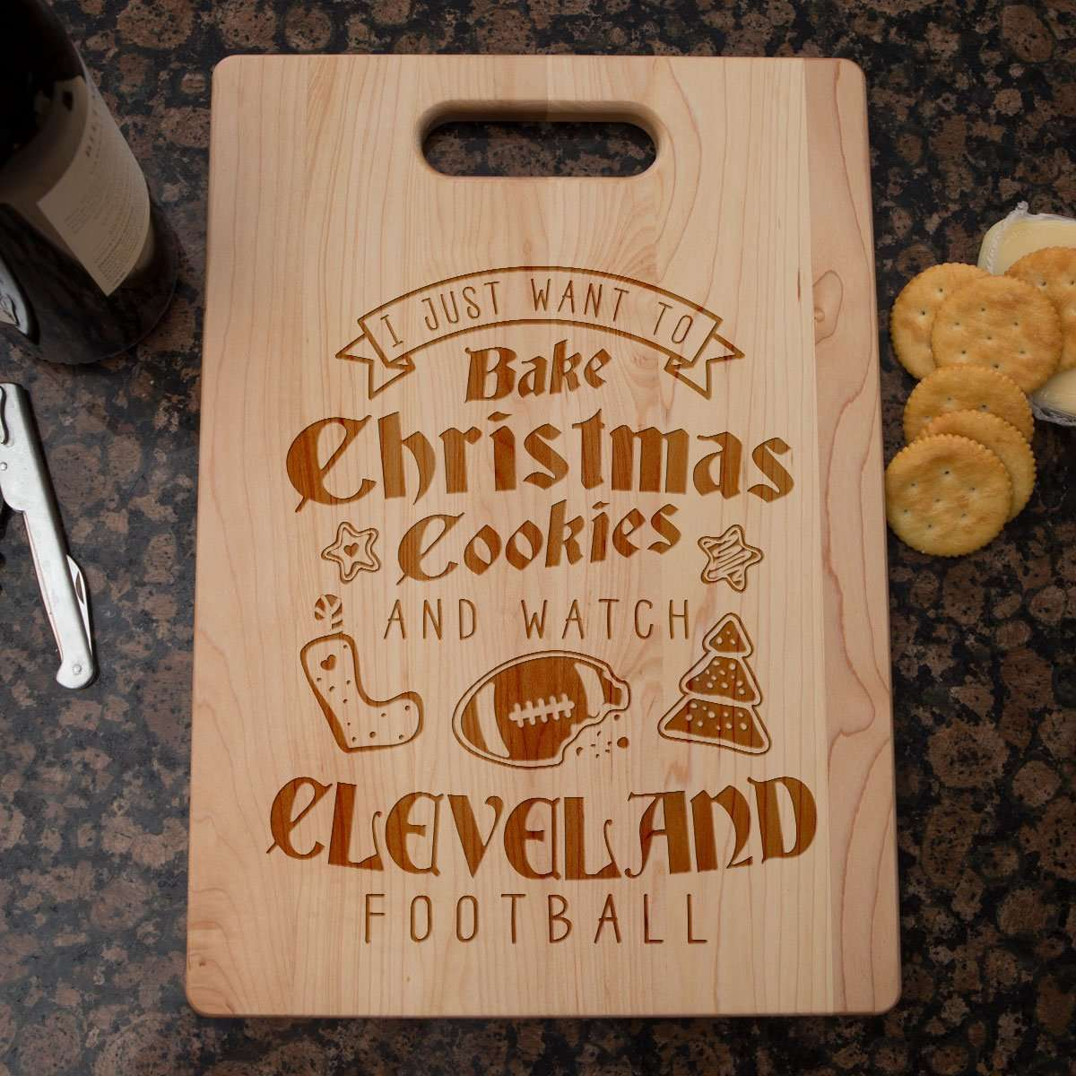 Designs by MyUtopia Shout Out:Cleveland Football Christmas Engraved Cutting Board,6″ X 9″ / Maple,Cutting Board